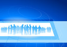 Business team in frame on blue internet background Royalty Free Stock Photos