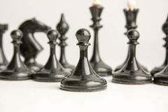 Business team game concept. Chess. Pieces are black. Photo for your design Stock Photography