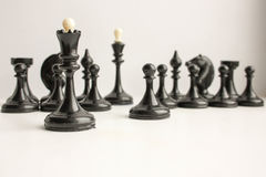 Business team game concept. Chess. Pieces are black. Photo for your design Royalty Free Stock Photo