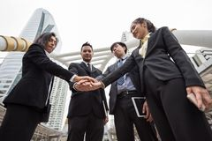 business teamwork concept in town stock photo