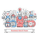 Business team gathered around leader with idea. Business team gathered around leader with creative idea. Designer, web developer, pr and marketing specialists Stock Images