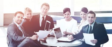 Company accountant says about the issues at a working meeting Royalty Free Stock Image