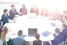 Company accountant says about the issues at a working meeting Royalty Free Stock Photo