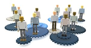 Business team on gears. 3d illustration of business team stood on interlocking gears, white background Stock Photo