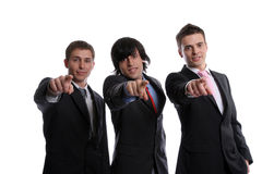 Business team gesturing. Isolated in white background royalty free stock photos