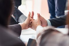 Business team are giving thumbs up of achievement project, Busin. Business team are giving thumbs up of achievement project., Business concept royalty free stock photos