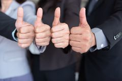 Business team are giving thumbs up of achievement project, Business concept. Business team are giving thumbs up of achievement project., Business concept royalty free stock images