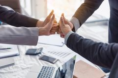 Business team are giving thumbs up of achievement project, Business concept. Business team are giving thumbs up of achievement project., Business concept stock photography