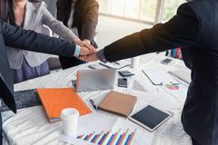 Business team are giving thumbs up of achievement project, Business concept. Business team are giving thumbs up of achievement project., Business concept royalty free stock image