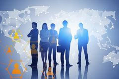 Business team and global social connection stock photos