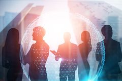 Business team in global world concept stock illustration