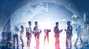 Business team in global world. International firm stock image