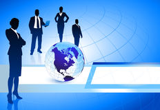 Business Team with Globe on Abstract Background Royalty Free Stock Image