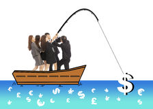 Business team go fishing a big money from worldwide market Royalty Free Stock Photos
