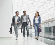 Business team goes and discusses business issues royalty free stock images