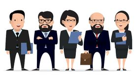 Business team - group businessman character. Business team - group businessman, lawyers, top managers character. Vector illustration Stock Images