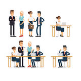 Business team. A group of people. Set of business team. A group of people dressed in strict suit standing and sitting of the table with laptop and smiling Royalty Free Stock Photos