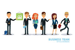 Business team. Group of workers. People characters. Men and women in office wear. Broker, seller, manager or dealer. Stock Photo