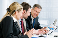 Business team and growing chart Royalty Free Stock Photo