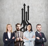 Business team, growth and arrows Royalty Free Stock Photo
