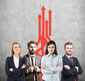Business team, growth and red arrows Royalty Free Stock Image