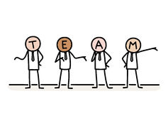 Business Team. A hand drawn vector doodle illustration of stick figures businessman working together as a team Stock Image