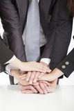 Business team with hand together. On the table for teamwork concept Stock Photography