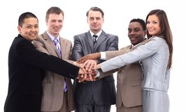 Business team with hands clasped together Royalty Free Stock Photo