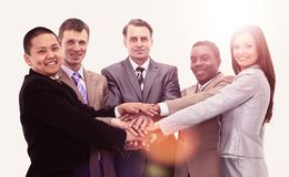 Business team with hands clasped together royalty free stock image