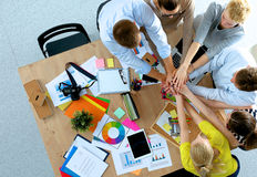 Business team with hands together - teamwork Royalty Free Stock Photo