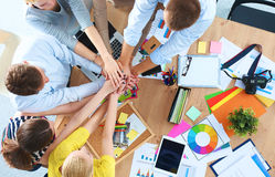 Business team with hands together - teamwork Royalty Free Stock Image