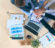 Business team with hands together - teamwork concepts Royalty Free Stock Photos