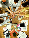 Business team with hands together - teamwork Stock Images