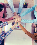 Business team with hands together - teamwork concepts Royalty Free Stock Image