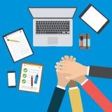 Business team with hands together - teamwork concepts. Vector illustration, EPS 10 Stock Image