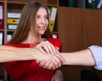 Business Team Handshake Male and Female Arms Stock Image