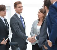 Business team and handshake of business partners royalty free stock photo