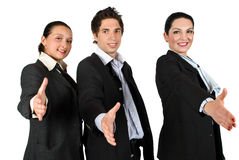 Business team handshake in a row Royalty Free Stock Image