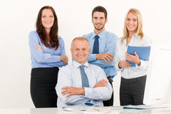 Business team happy mature manager with colleagues Royalty Free Stock Photography