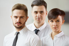 Business Team. Happy smiling people standing in office Stock Image