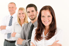 Business team happy standing in line portrait. Business team happy attractive women colleagues standing in line portrait Royalty Free Stock Image