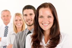 Business team happy standing in line portrait Stock Photos