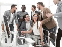 Business team having fun in the workplace. Concept of success royalty free stock photos