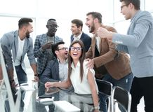 Business team having fun in the workplace. Concept of success stock photo