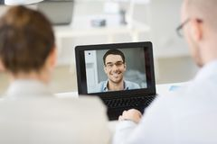 Business team having video conference at office stock photos