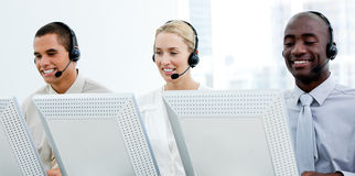 Business team with a headset on Royalty Free Stock Photography
