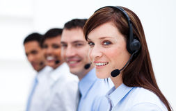 Business team with headset on in a call center Royalty Free Stock Photography