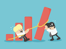 Business team help falling graph. Vector eps .10 Royalty Free Stock Image