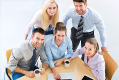 Business team, high angle. Business people meeting at table stock photos