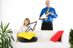 Business team holding arrows Stock Photo